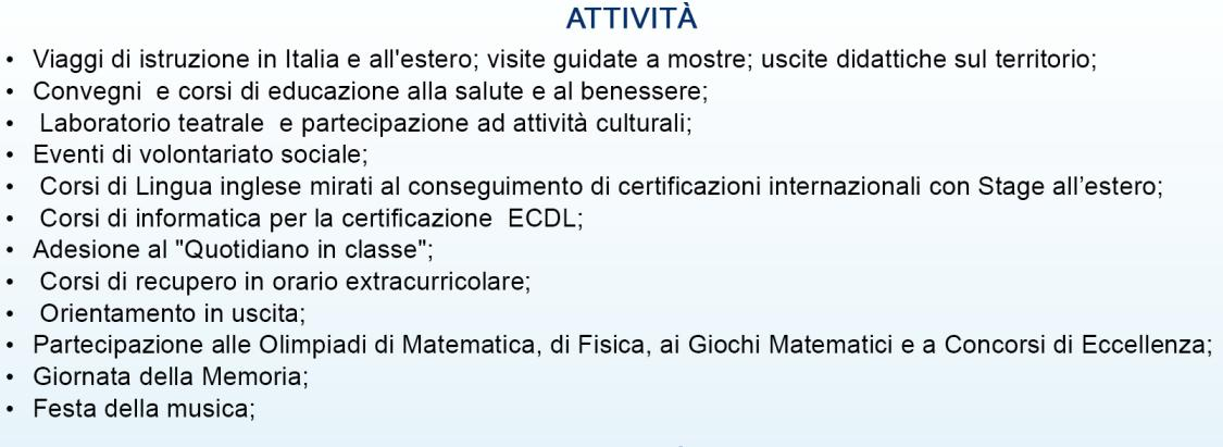 attivita liceo scientifico